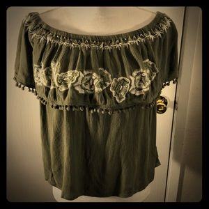 Dark Green Off the Shoulder Embroidered Top